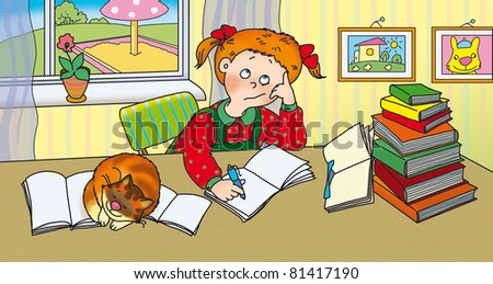 youngest schoolgirl do homework - stock photo