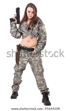 Youngfemale soldiers with gun, isolated on white background - stock photo