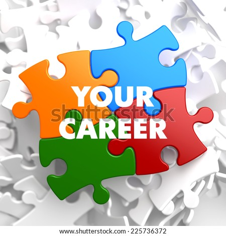 Your Career on Multicolor Puzzle on White Background. - stock photo