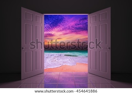 Your doorway to the sunset beach. 3D illustration - stock photo