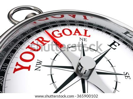 your goal red word on motivation compass, isolated on white background - stock photo