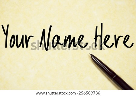 your name here text write on paper  - stock photo