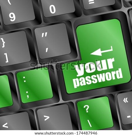 your password button on keyboard keys - security concept - stock photo