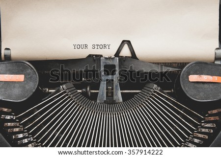 Your Story? question printed on an old typewriter. - stock photo