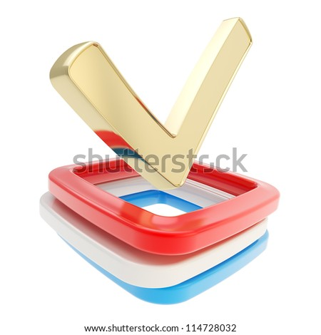 Your vote: yes check tick glossy golden metal emblem icon over red, gray, blue checkbox pile isolated on white background - stock photo