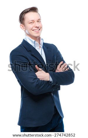 Youth and confidence. Handsome young business man with crossed hands looking at camera. Isolated on white. - stock photo