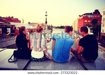 youth group vacation travel city - stock photo