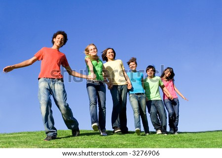 youth in a line - stock photo