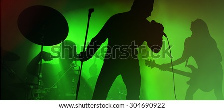 Youth Performing in the rock band - stock photo