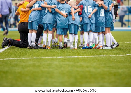 Youth soccer football team. Group photo. - stock photo
