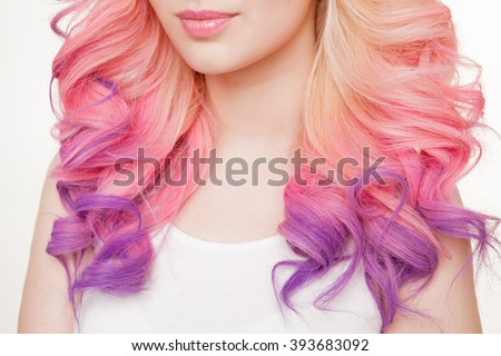 Youth women with curly colored hair. white background. Detail. Isolated. - stock photo