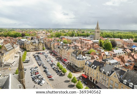 YPRES-BELGIUM-MAY 19, 2015: Ypres , is a town in the Belgian province of West Flanders. It's surrounded by Ypres Salient battlefields. - stock photo