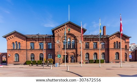 YSTAD, SWEDEN - AUGUST 6, 2015: Railway station partially used as a hotel. In the well-known series based on Henning Mankell's novels about inspector Wallander, building served as a police station.