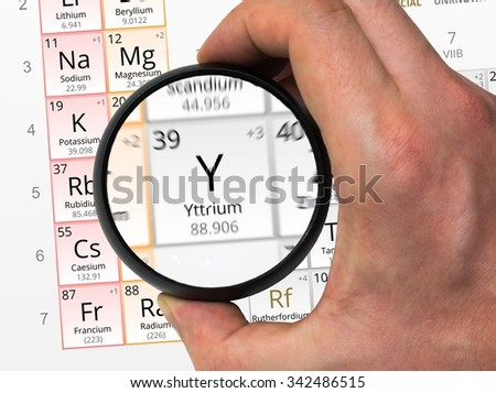 Yttrium symbol y element periodic table stock photo edit now yttrium symbol y element of the periodic table zoomed with magnifying glass urtaz Image collections
