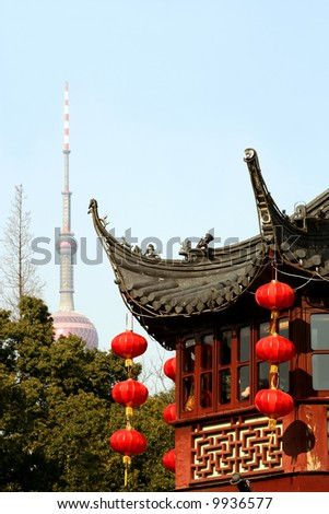 Yu Gardens and Pearl Tower, Shanghai, China - stock photo