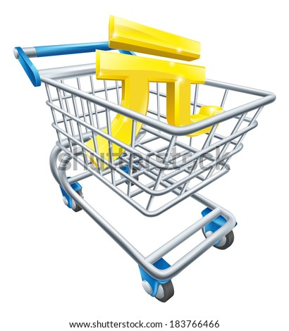 Yuan currency trolley concept of Yuan sign in a supermarket shopping cart or trolley - stock photo