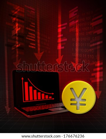 Yuan gold coin with negative online results in business illustration - stock photo