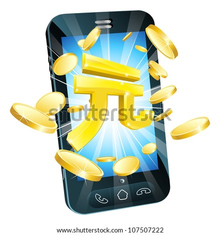 Yuan money phone concept illustration of mobile cell phone with gold Yuan sign and coins