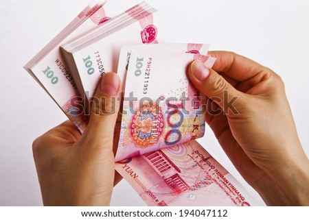 Yuan notes from China's currency. Chinese banknotes - stock photo