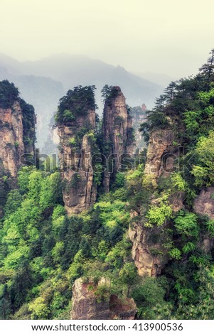 yuanjiajie scenic area in zhangjiajie landscape views. Tall obelisk like rocks with deep valleys.