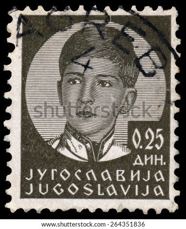 YUGOSLAVIA - CIRCA 1935: A stamp printed in Yugoslavia shows King Peter II, circa 1935.