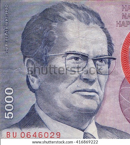 YUGOSLAVIA- CIRCA 1985: Josip Broz Tito (1892-1980) on 5000 Dinara 1985 Banknote from Yugoslavia. Yugoslav revolutionary and statesman, ruling in various roles during 1945-1980.