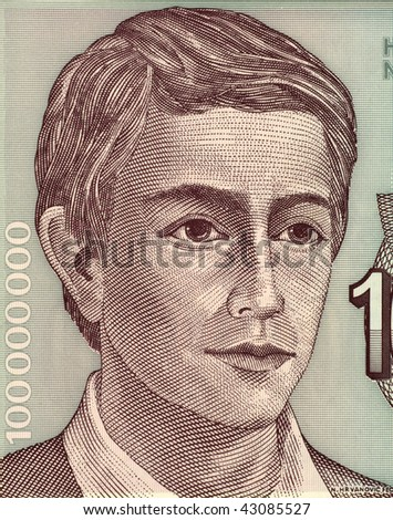 YUGOSLAVIA - CIRCA 1993: Young Man on 100000000 Dinara 1993 Banknote from Yugoslavia