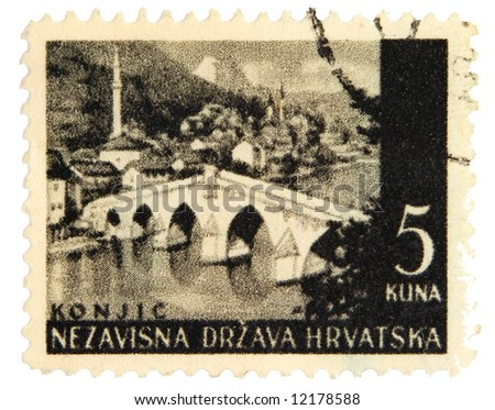 Yugoslavian postage stamp on white background
