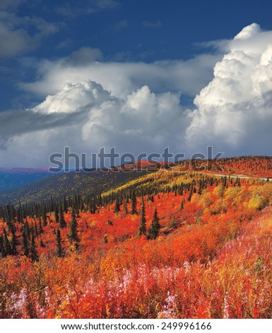Yukon Mountains in fall colours, Canada - stock photo
