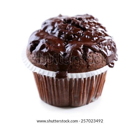 Yummy chocolate cupcake isolated on white - stock photo