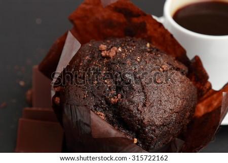Yummy chocolate muffin - stock photo