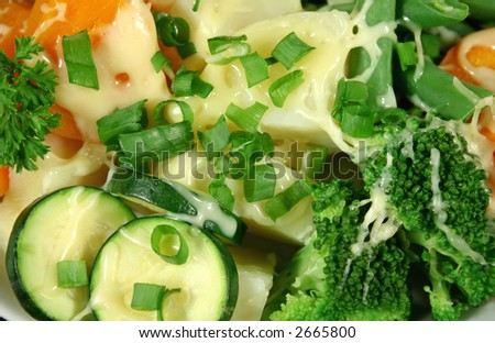 Yummy diced vegetables with melted cheese ready to serve. - stock photo