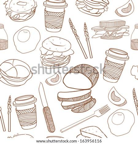 Yummy food seamless background - stock photo