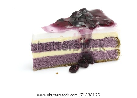 Yummy sweet Blueberry cake with Blueberry toping isolated in white background - stock photo