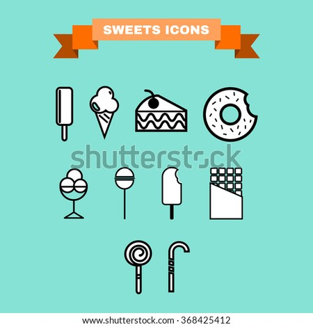 Yummy sweet treats concept. Ice cream. Cake Slice with Cherry on top. A chocolate cream donut with sprinkles and bite mark. Lollipops. Chocolate Bar. Candy stick. Digital raster icon set. - stock photo