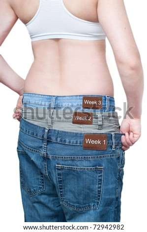Yuong woman monitoring weekly weight loss by wearing tree jeans. - stock photo