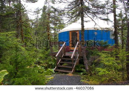 Yurt in the Alaskan wilderness - stock photo