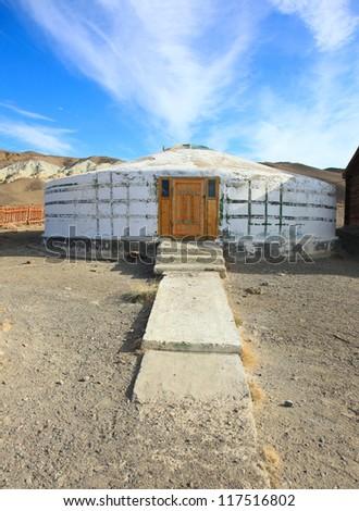 Yurt Stone of white light. North Mongolia - stock photo