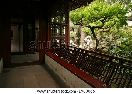 Yuyuan garden maze interior, Shanghai - stock photo