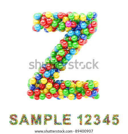 Z: Colorful letters and numbers on white background.