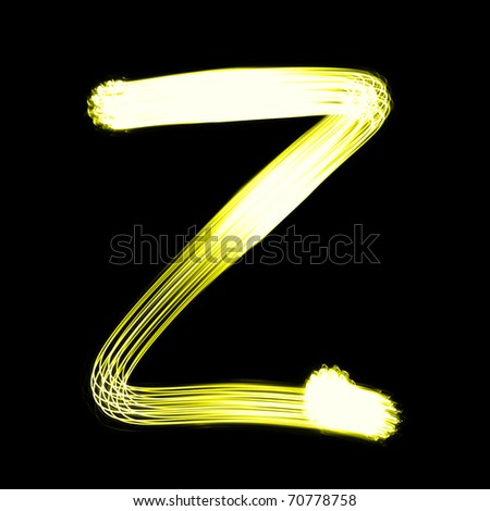 Z - Created by light alphabet over black background - stock photo