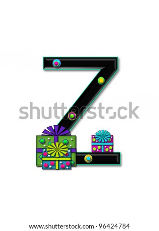 Z, in the alphabet set Birthday Boxes, has multi-colored packages with polka-dots and ribbon.  Letters are black with colored outline. 3D circles decorate letters.