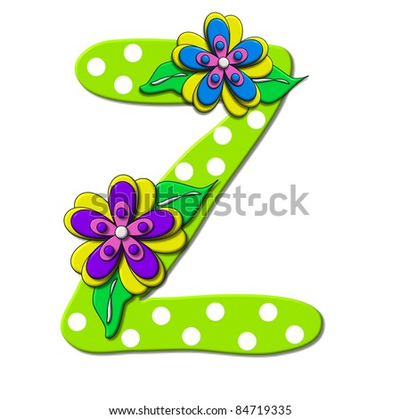 """Z, in the alphabet set """"Bright Floral"""", is decorated with three layer modernistic flowers in bright fun colors.  Letters are brilliant green. - stock photo"""