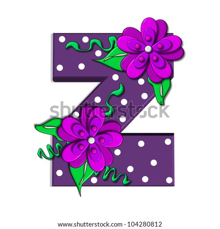 """Z, in the alphabet set """"Clinging Vine"""", is decorated with mod flowers in three layers.  Letters are purple and vines and leaves are mint green. - stock photo"""
