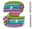 "Z, in the alphabet ""Spotted Lines"" is composed of colored pastels and topped with polka dots.  3D flowers and leaves decorate letters. - stock photo"