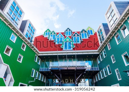 ZAANDAM, NETHERLANDS - SEPTEMBER 02, 2015: city hall in Zaandam. Together with the near Inntel Hotel it is an architectural ensemble, designed by WAM architects. - stock photo