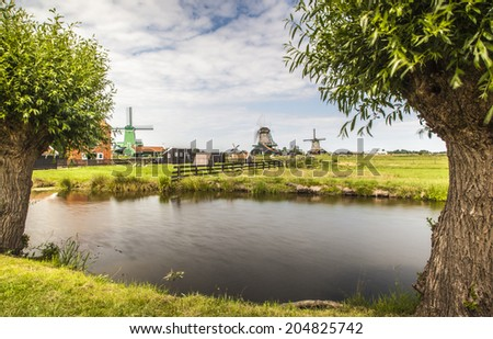Zaanse Schans, Museum village with dutch houses and wind mills, Zaandam, the Netherlands - stock photo