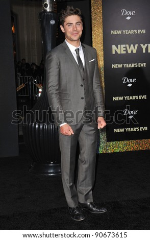 "Zac Efron at the world premiere of his new movie ""New Year's Eve"" at Grauman's Chinese Theatre, Hollywood. December 5, 2011  Los Angeles, CA Picture: Paul Smith / Featureflash - stock photo"