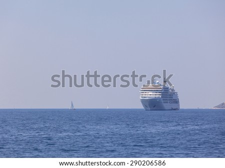 Zadar, Croatia - June 7- 2015 : Cruise liner silver spirit is  cruising in the Croatian sea. Build in 2009 carry 540 people on board .Trveling to Croatia, Greece and Turkey.