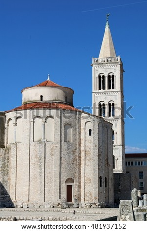 Zadar's monumental 9th century building of St Donatus Church in the city center of the old town, Croatia